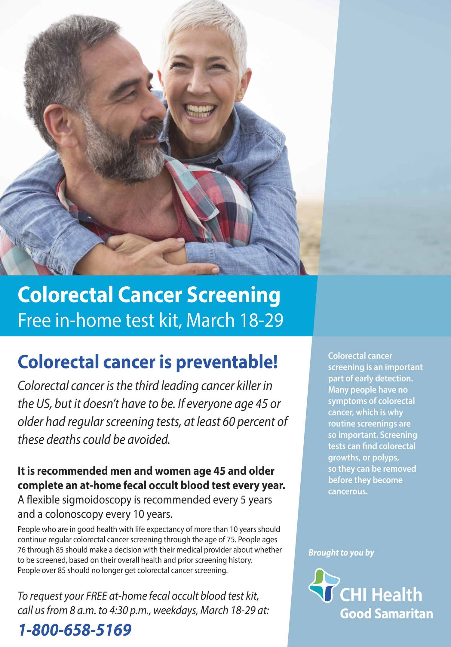Colorectal Free Screening flyer