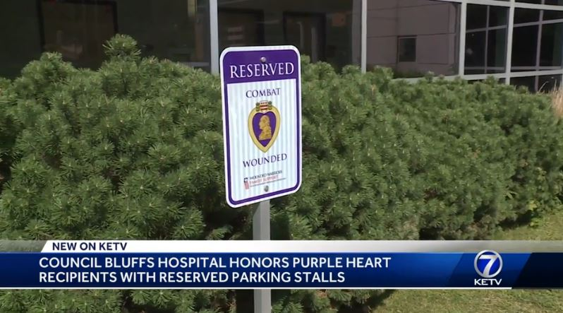 Combat wounded reserved parking sign at  CHI Health Mercy Council Bluffs